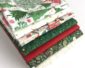 Silent Night Fat Quarter Bundle - 7pc - Christmas Fat Quarters, Fabric for Quilting, Christmas Craft