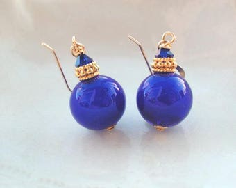 Blue Round Murano Glass Earrings