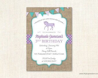 Horse Invitations - Western Cowgirl Birthday Invitations -  Paisley Burlap Birthday Invitation - Purple and Teal ( turquoise)