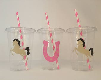 Horse Party Cups, Horse Birthday cups, Cowgirl Party cups, Horse Baby Shower, Cowgirl Baby Shower