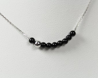White gold necklace beads Onyx