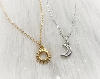Sun and Moon friendship necklaces, Dainty, Minimalist Jewelry