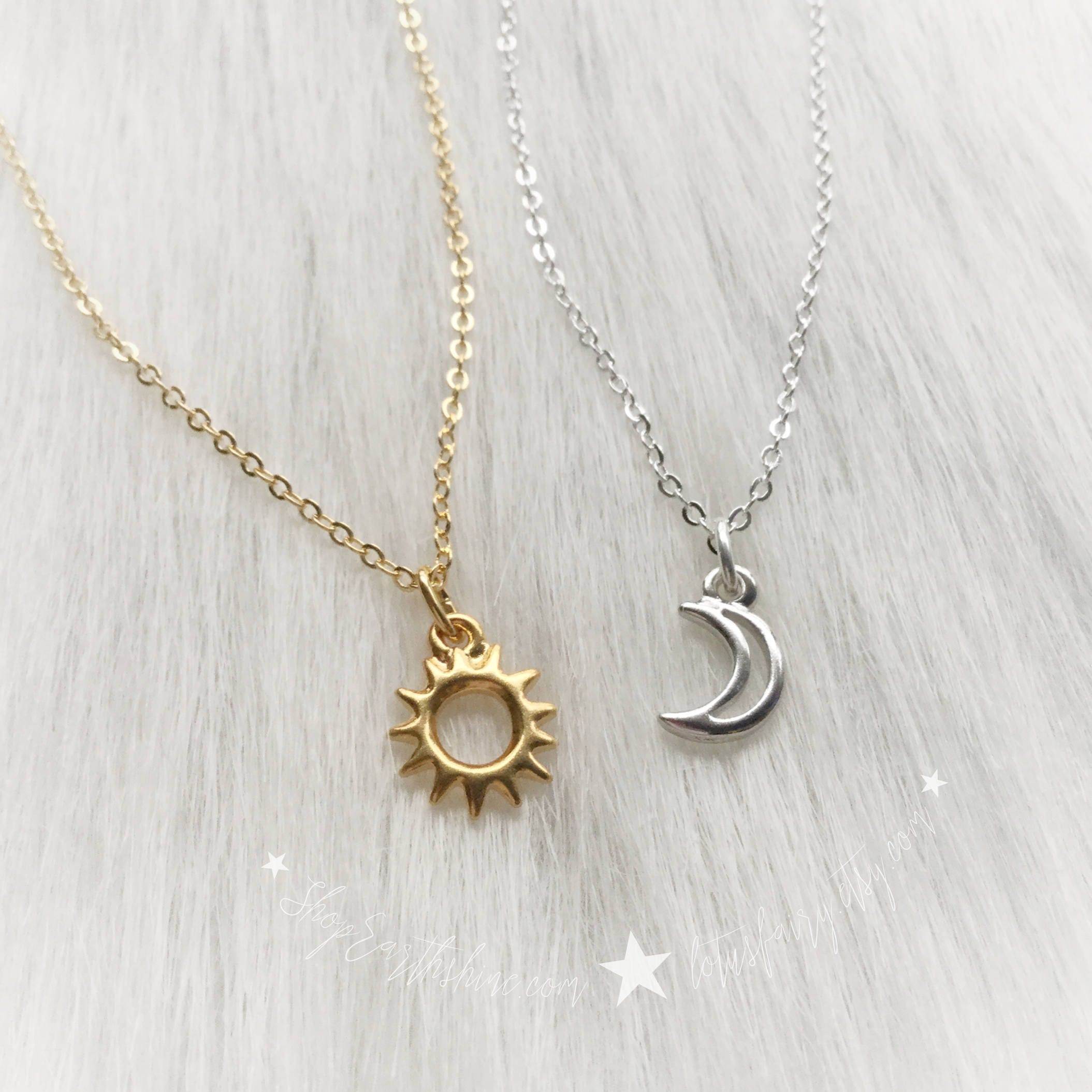 pin moon necklace and sun layering face