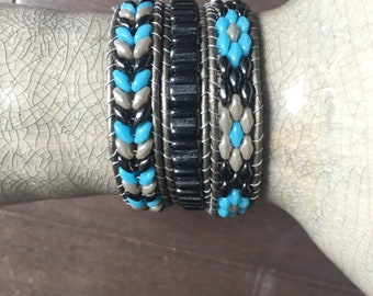 Black blue and gray beaded leather beaded triple wrap bracelet