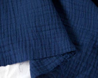 "Navy Wrinkled Cotton Gauze, Double Gauze, Navy Gauze, Crinkle Gauze, Yoryu Gauze - 59"" Wide - By the Yard 99213"