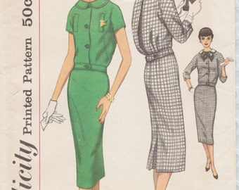 Simplicity 2410 / Vintage 50s Sewing Pattern / Skirt Blouse Overblouse Suit Dress / Size 14 Bust 34