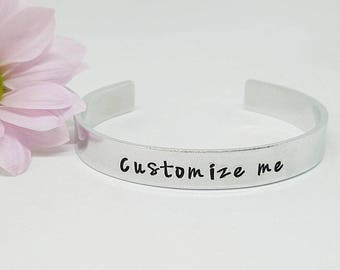 Custom Hand Stamped Cuff Bracelet, Personalised Bracelet, Personalised Cuff, Gift for Her, Valentine's Gift