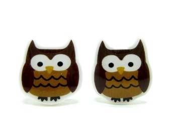 Owl Earrings | Sterling Silver Posts Studs | Gifts For Her