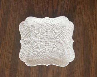Ivory Pottery Lace Plate/Handmade Ceramic Lace Dish/Doily Imprinted Designer Plate/Lace Texture Pretty Dish/Hand Formed Ceramic Plate/Ivory