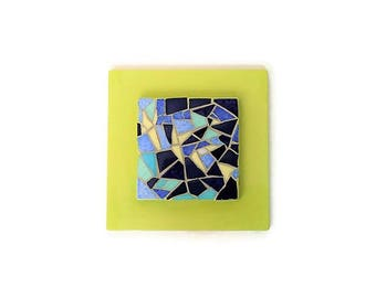 Small blue and green mosaic table