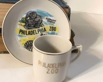 Vintage Souvenir Philadelphia Zoo  - Mini Cup and Saucer