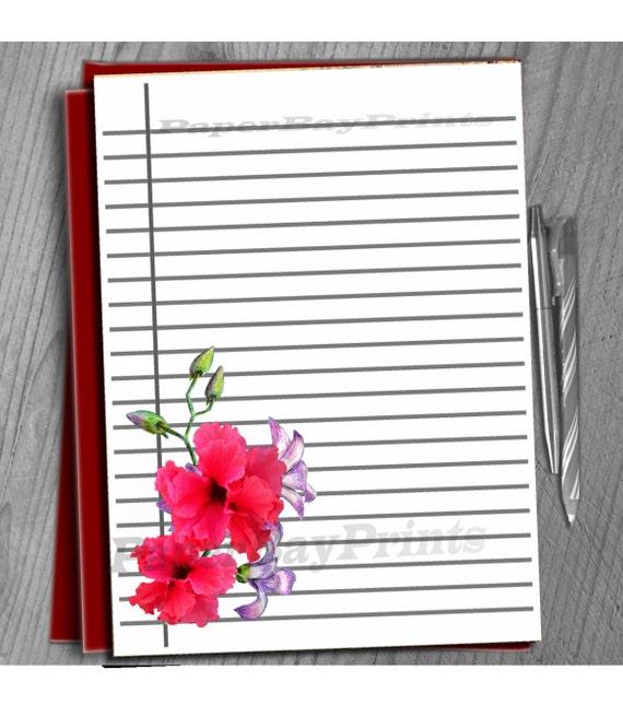 Papel para escribir imprimible y Orchid Hibiscus diseño, papel de ...