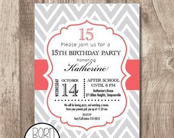 Custom Printable Chevron Birthday Invitation