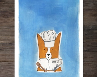 Corgi Chef Art Print
