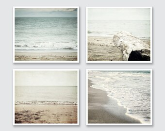 Beach Decor Prints or Canvas Set of 4, Soft Grey Beach Decor, Pastel Beach Set, Beige Blue Tan Grey, Ocean Art, Beach Art Prints Set.