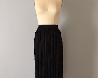 1990s black crinkle black maxi skirt // CHAUS pleated skirt // accordion crinkle maxi skirt