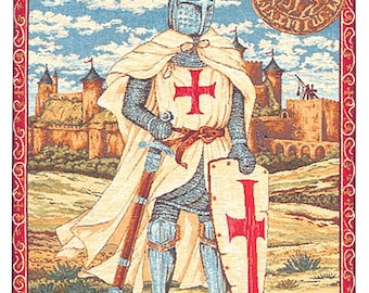 Templar Knight Tapestry Wall Hanging - Templar Armor Gift - Templer Gift - Medieval Decor - Belgian Tapestry Wall Decor