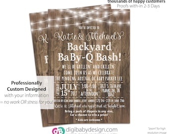 BBQ Rustic Baby-Q Baby Shower Invitation, Wood Barn Baby Shower Invitation, BabyQ Rustic Wood Invite, Printable Invitation