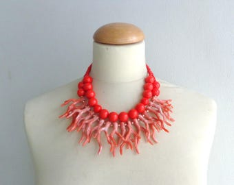 Red Orange coral branch necklace, coral branch statement