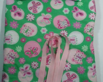 """Doll Sleeping Bag, pillow,  pink and green, butterflies, 18"""" dolls and others, pink fleece lining, use for slumber party or camping bag"""