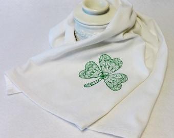 Shamrock Towel - Cotton Hand Towel - Embroidered Towel- St. Patrick's Day Towel, Irish Towel, Celtic Towel