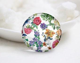 Handmade Round Flower Photo Glass Cabochons (P3446)