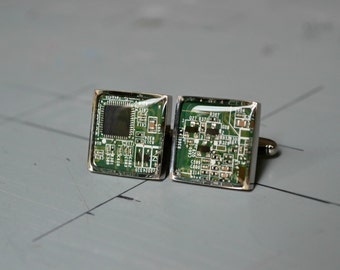 Mens Geekery Nerdy Cuff Links - Circuit Board Computer Cufflinks - Wedding Groom Gufflinks