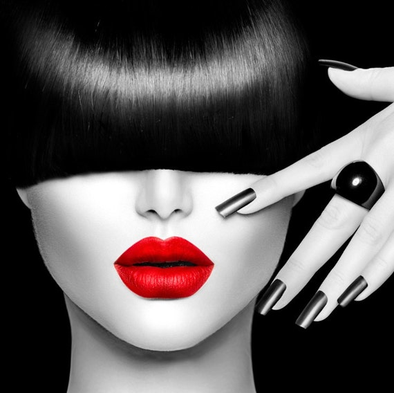 Red lips face modern home decor fine wall art black white canvas den giclee print highest quality canvas print not stretched or framed