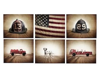 The Fireman Setof 6 Canvas Prints, Fireman themed decor, Boys Room Decor, Fire truck Wall Art