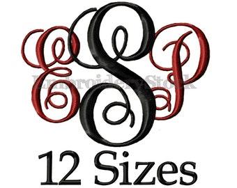 Interlocking Vine Embroidery Font Monogram Font Machine Embroidery Fonts Design Embroidery Intertwined Monogram Font