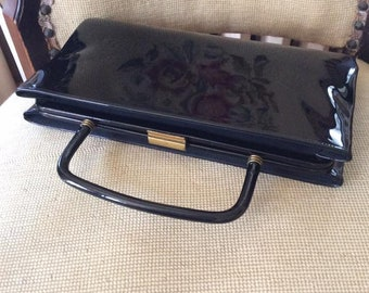 Vintage 1950s 1960s Clutch Hand Bag Purse Black Shiny Patent/Vinyl Maker Is Garay Use With Handle In Or Out