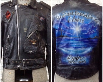 Vintage 90s men's leather motorcycle jacket. Harley, Abate patches. Airbrushed memorial in back. Sz M