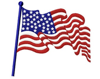 Independence Day Patriotic Flag...Solid Fill Machine Embroidery DESIGN NO. 207