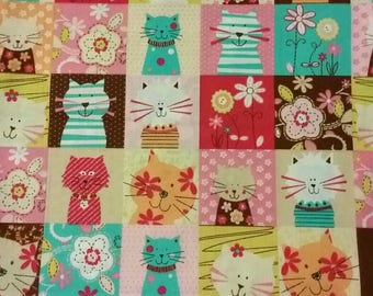 Spring kitty cats cotton fabric, quilting fabric, cat lover, feline fun
