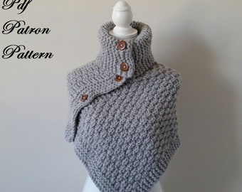 Pdf knitting pattern, owner knitting, poncho, model knitting for child and adult, winter clothes, handmade knitwear