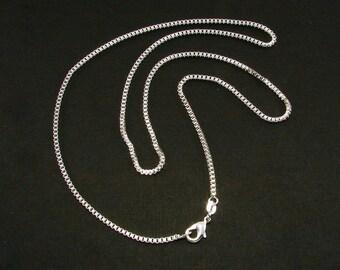 Sterling Silver Box Chain, Pendant Chain, Box Chain, 16 inches, 18 inches, 20 inches, 22 inches and 24 inches