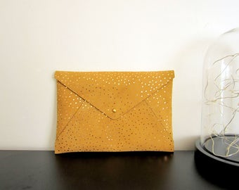 A5 envelope clutch / Envelope Clutch / makeup bag / leather / leather / minimalist