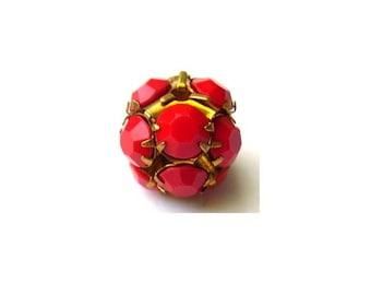 Vintage Swarovski crystal ball bead 13mm red opaque rhinestones in brass setting- RARE