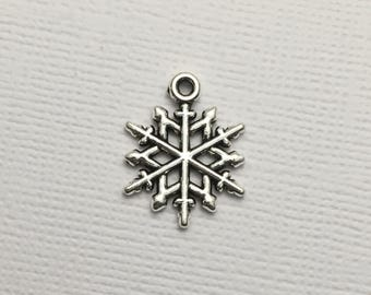 Snowflake Charms x 5 Silver Christmas Pendant Snowman Invitations Jewellery #108