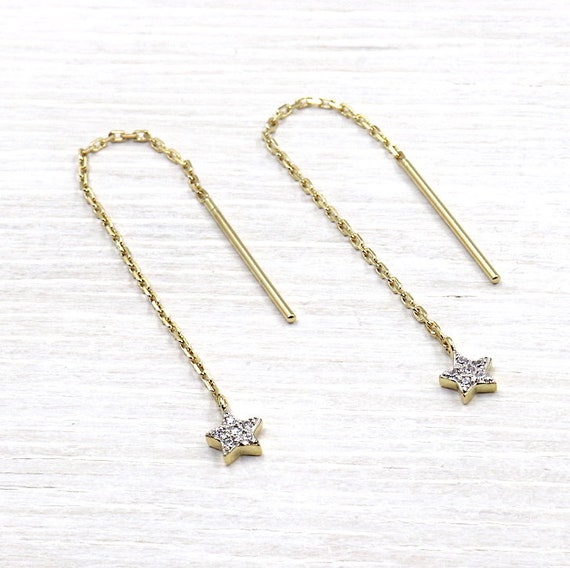 gold plated chain and earrings star cubic zirconia 18 k 3 microns