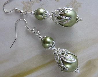 SAGE GREEN PEARL Earrings Lace Wedding Dress green gift sister Silver Earring Filigree Earrings Antique Jewelry weddings gifts machericomau