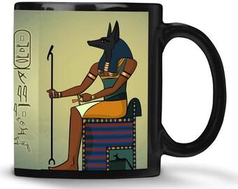 Anubis mug / egyptian mug Anubis & egyptian name in hieroglyphs / Anubis god / Anubis egyptian god / Jackal / egypt