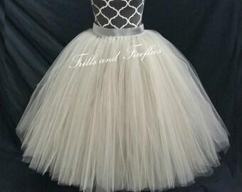 Silver Grey Tulle Skirt/Skirts for Women/Flower Girl Skirt/Wedding Skirt/Maxi Skirt/Ball Gown/Bridal Skirt/Dance/Bridesmaid/Ballet Tutu/Gift