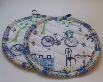 Whimsical Bicycle theme Potholders/Hotpads