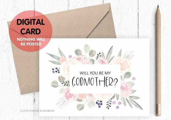 godmother card printable will you be my godmother card digital download godmother proposal floral godmother card