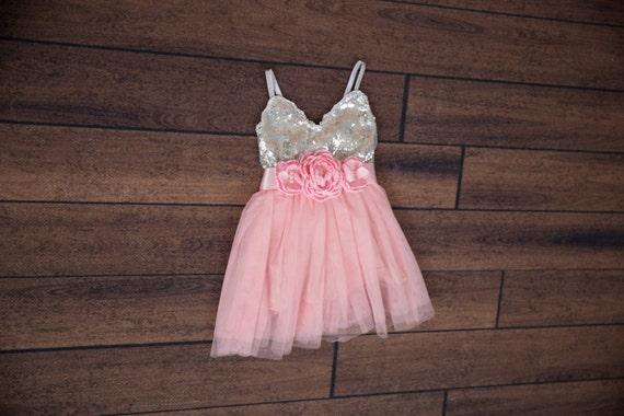 Pink flower girl dress ball gown silver sequin dress pale mightylinksfo