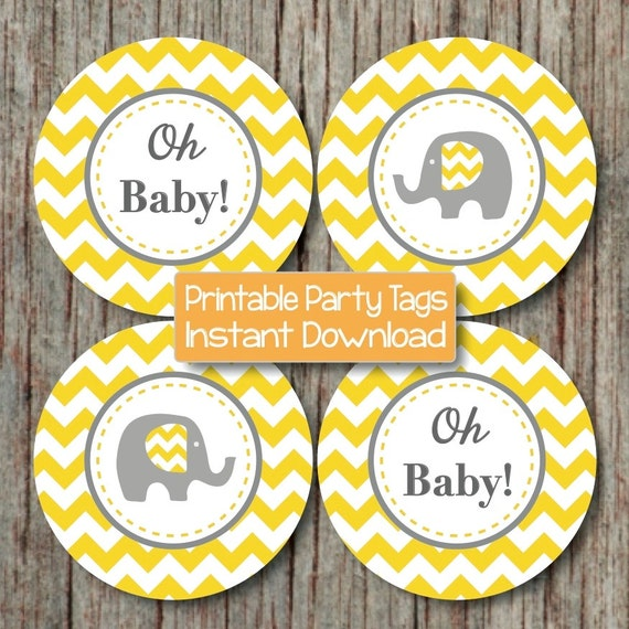 Yellow Grey Chevron Baby Shower Decorations Printable Party Supplies  Cupcake Toppers Oh Baby! Elephant Diy Favor Tags INSTANT DOWNLOAD 102 From  ...