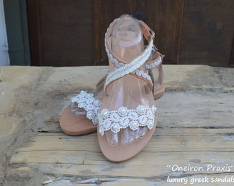 """FREE SHIPPING-Wedding Sandals""""Aethis"""",Luxurious Sandals,Bridal Sandals,Greek Leather Sandals,Pearl Sandals,Crystals Sandals,Luxury Sandals"""