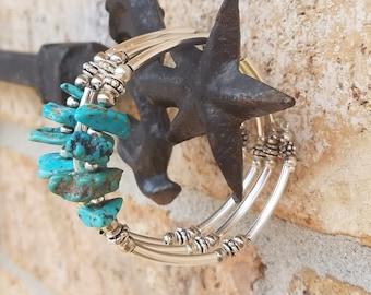 Blue Turquoise Nugget & Sterling Silver Bracelet