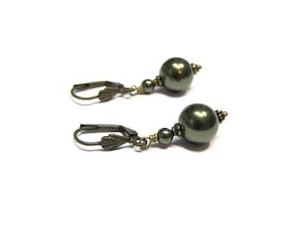 ON SALE Dark Green Earrings Pearl Earrings Green Pearl Earrings Top Selling Jewelry drop earrings green dangles dark green gift for her
